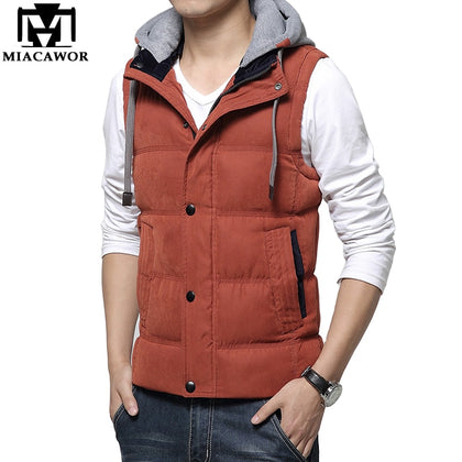 Winter Brand Hooded Vest Mens Warm Sleeveless Jacket - 99andco