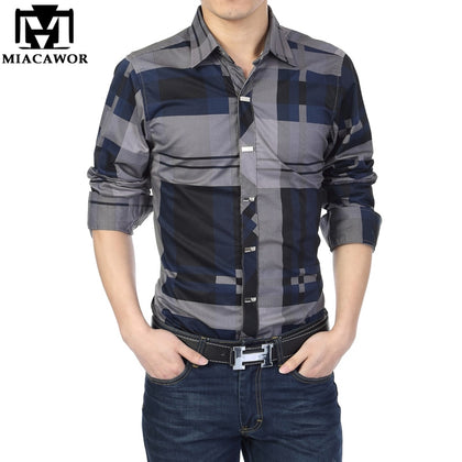 Shirt Men 100% Cotton Casual Shirts Slim Fit - 99andco