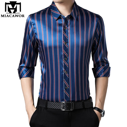 Casual Shirts Men Fashion Striped Long Sleeve - 99andco