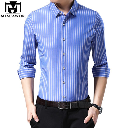 Long Sleeve Striped Shirts Men Slim Fit - 99andco