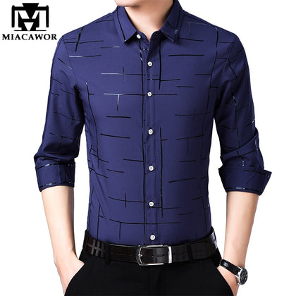 Spring Long Sleeve Casual Shirts Men Slim Fit - 99andco