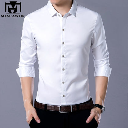 Spring Long Sleeve White Shirts Men Slim Fit - 99andco