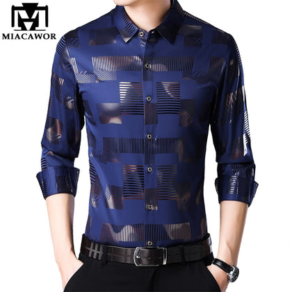 Business Casual Shirts Men Fashion Print Slim Fit - 99andco