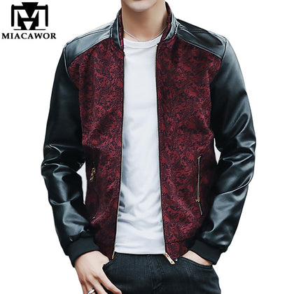 New Fashion Bomber Jacket Leather Sleeves Male Jacket - 99andco