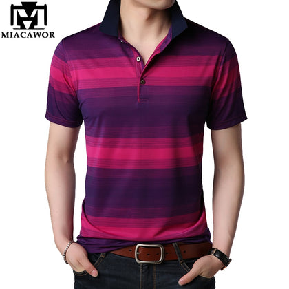 Men Polo shirts Striped Business Casual Men - 99andco