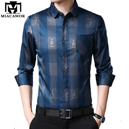 Long Sleeve Plaid Shirts Men Business Casual - 99andco