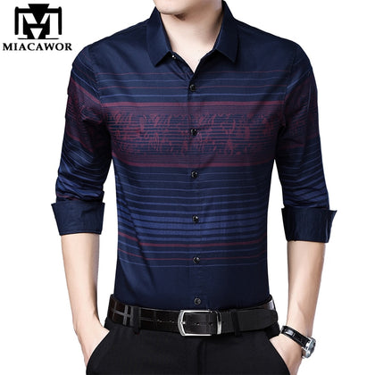 Men Shirts British Style Striped Shirt Slim Fit - 99andco