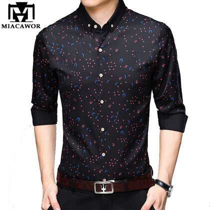 Shirt Men Business Casual Shirt Print Long Sleeve - 99andco