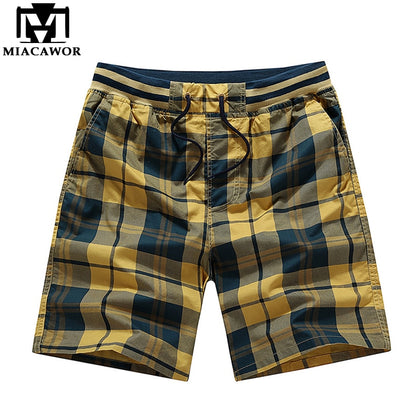 Summer Plaid Casual Men Shorts Cotton - 99andco