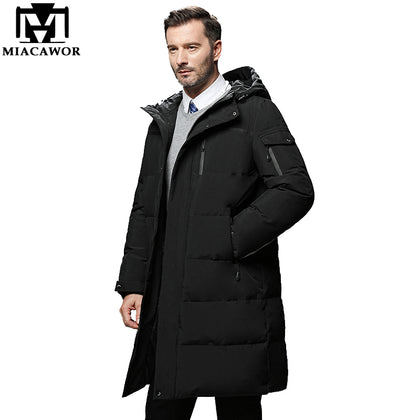 Thick Down Jacket Men Hooded Long Down Coat Windproof - 99andco