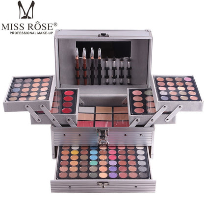 Cosmetic case aluminum makeup set matte shimmer eye shadow,concealer,lipgloss,blush powder,eyebrow,lip eye liner pen - 99andco