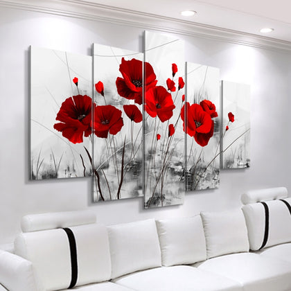 Modern Canvas Painting 5 Pieces Combined Flowers Posters Abstract - 99andco