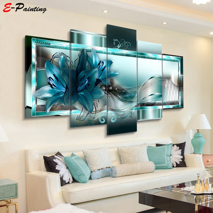 Modern Canvas Painting 5 Pieces Wall Art Beautiful Abstract Lily Flower - 99andco