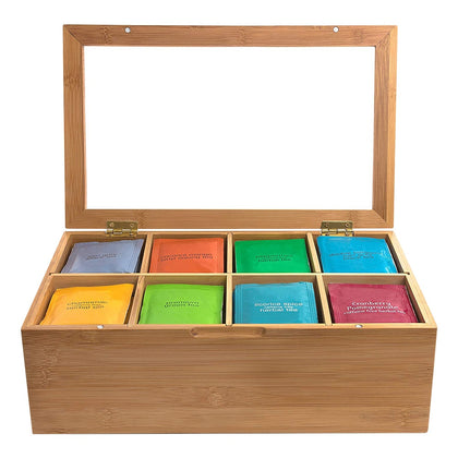 Multifunctional 12 Inch Wooden Tea Box 8 Compartments Storage - 99andco