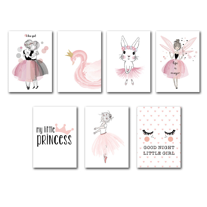 Nordic Poster Pink Baby Girl Room Decor Canvas Poster
