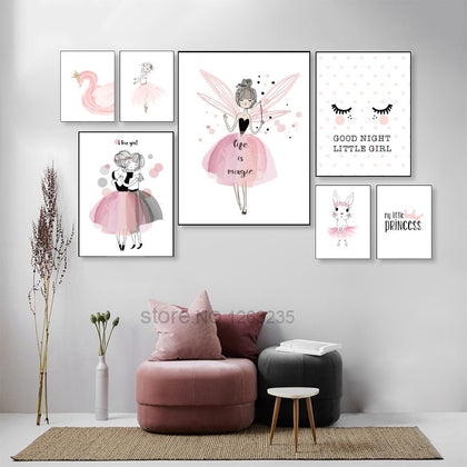 Nordic Poster Pink Baby Girl Room Decor Canvas Poster - 99andco
