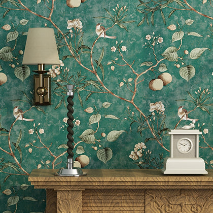 Pastoral 3D Tree Branches Flower Birds Wallpaper - 99andco