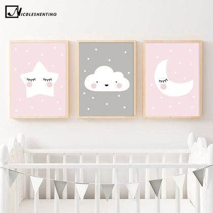 Pink Moon Cloud Star Nursery Child Poster Cute Art Decorative - 99andco