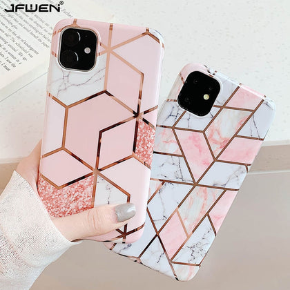 Plating Geometric Marble Case For iphone - 99andco