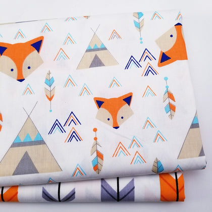 Printed fox  Cotton twill fabric - 99andco