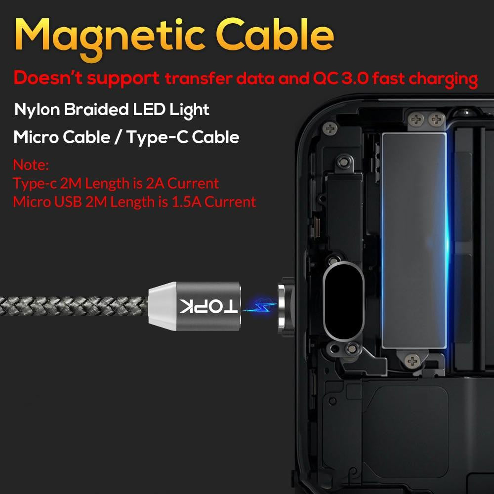 1M LED Magnetic USB Cable for iPhone Xs Max 8 7 6 & USB Type C Cable & Micro USB Cable for Samsung Xiaomi LG USB C