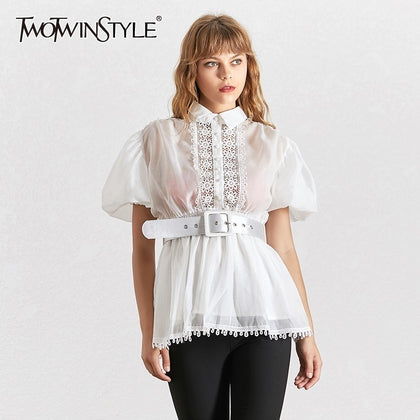 Elegant Embroidery Patchwork Women Blouse - 99andco