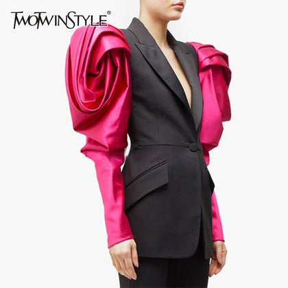 Hit Color Ruched Patchwork Puff Sleeve Blazer For Women - 99andco