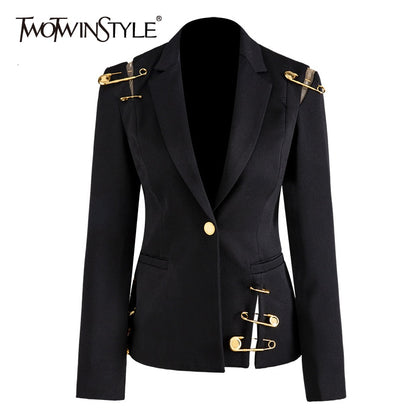 Hollow Out Patchwork Lace Up Women's Blazer - 99andco