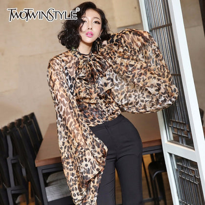 Leopard Shirt Female Chiffon Lace Up Bow - 99andco
