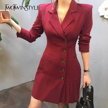 Pleated Hem Patchwork Blazer Coat For Women - 99andco