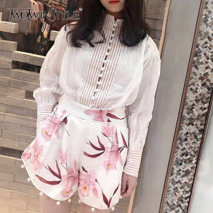 Printed Floral Shorts White Shirt Suits - 99andco