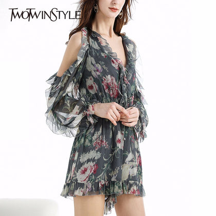 Ruffles Patchwork Jumpsuit Women Print - 99andco