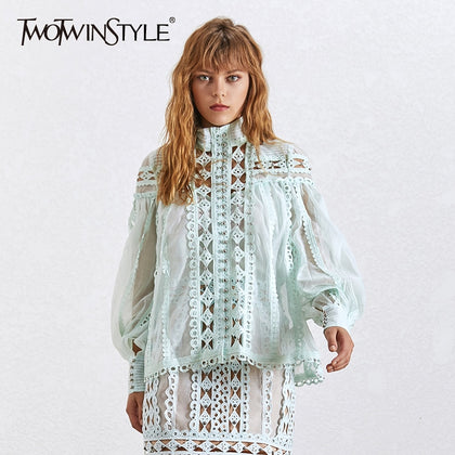 Sexy Beading Patchwork Women Blouse - 99andco