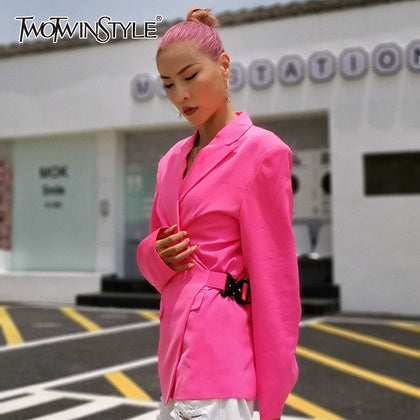 Side Lace Up Adjust Blazer Coat For Women - 99andco