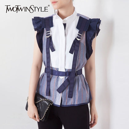 Striped Hit Color Patchwork Women Blouse - 99andco