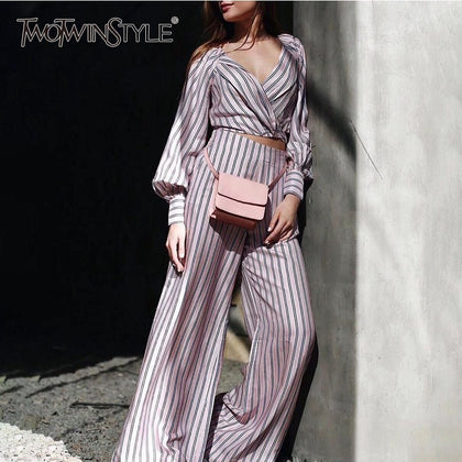 Striped Women Suit Lantern Long Sleeve V Neck - 99andco