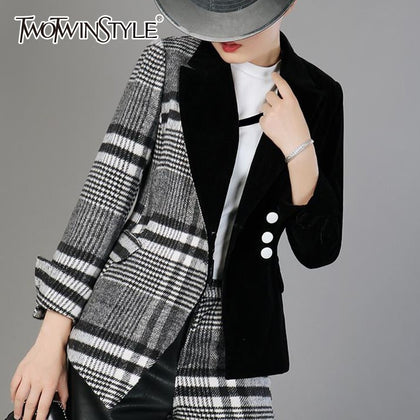 Patchwork Wool Plaid Blazer Coat Female - 99andco