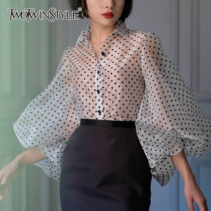 Vintage Polka Dot Long Puff Sleeve Womens Tops - 99andco
