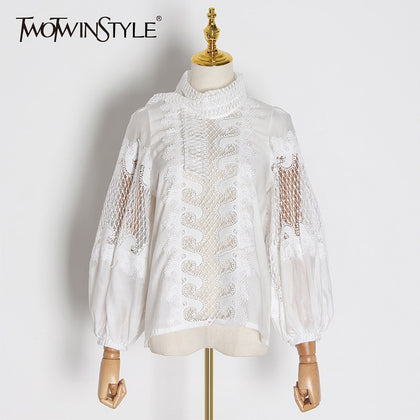 White Elegant Embroidery Women's Shirt - 99andco