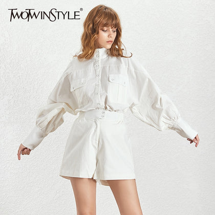White Shirt Shorts Women Two Piece Sets - 99andco