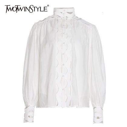 Women's Shirts Blouses Stand Collar - 99andco