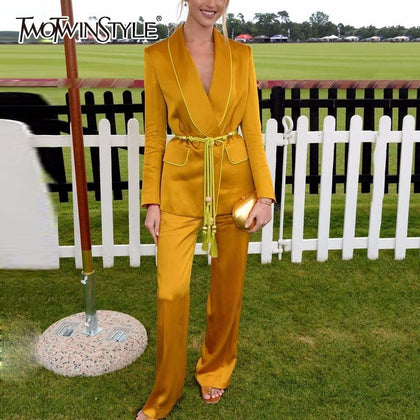 Yellow Pants Suits For Women Belt - 99andco