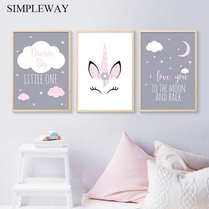 Unicorn Canvas Poster Baby Girl Nursery Quotes Wall Art - 99andco
