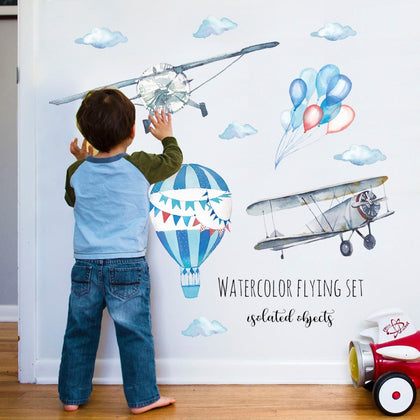 Watercolor airplane hot air balloon Wall Sticker - 99andco