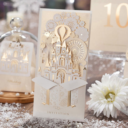 3D Wedding Invitations Champagne - 1pcs - 99andco