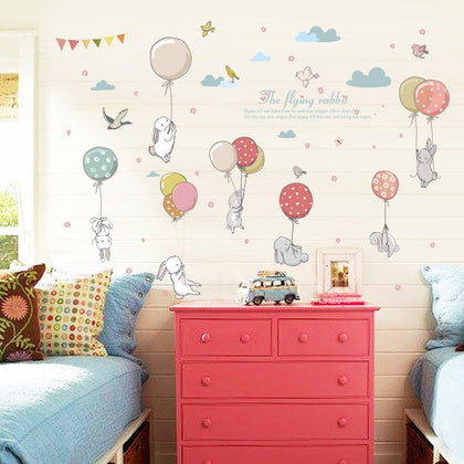 Balloon rabbit cartoon room decoration stickers - 99andco