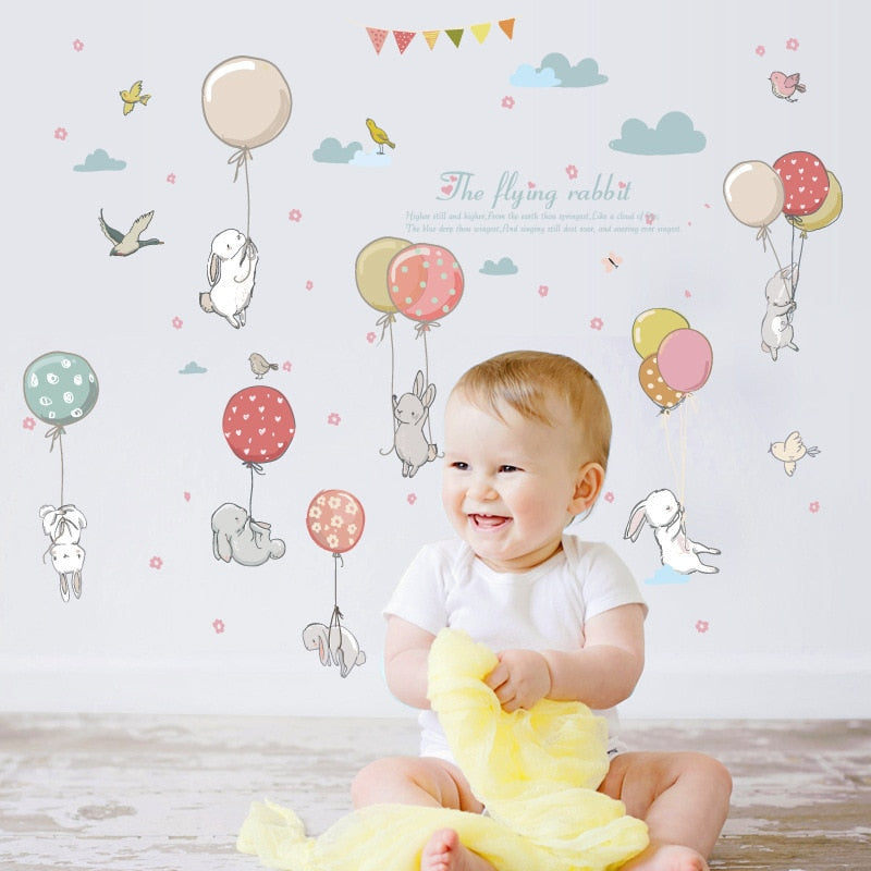 Balloon rabbit cartoon room decoration stickers