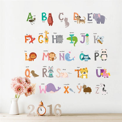 Cartoon Jungle wild 26 letters alphabet animals wall stickers - 99andco
