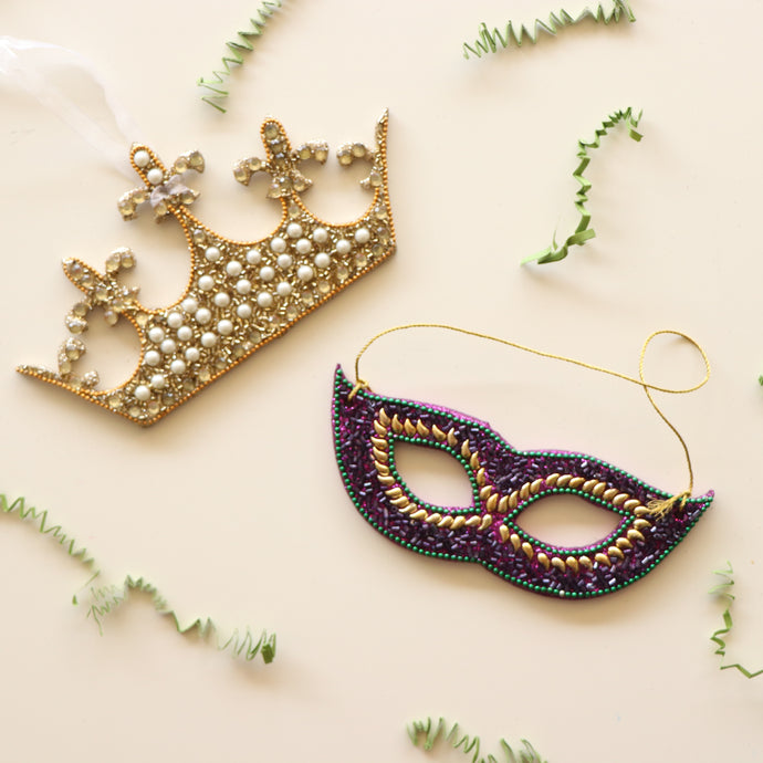 Beaded Mardi Gras Ornaments