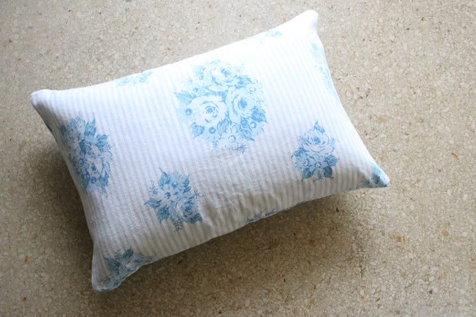 Bitsy Blue Bouquet Stripe Pillow, Large
